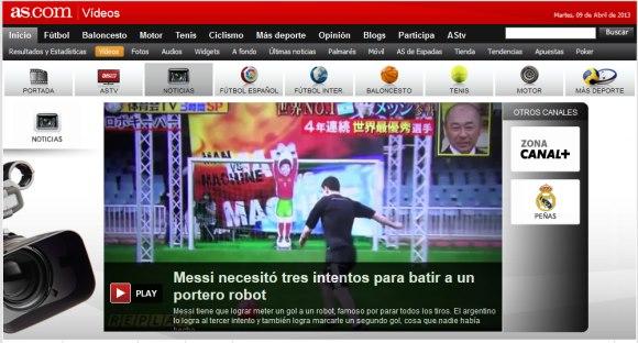 """""""メッシ対ロボキーパー""""がスペインで話題に、TBS系列で放映された「炎の体育会TV」"""