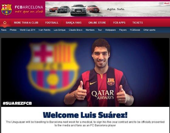 バルセロナ、ルイス・スアレスの獲得を発表…スアレスはリバプールに感謝