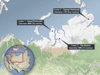 シベリアの永久凍土に謎の巨大穴が出現 (画像)