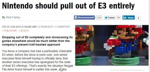 海外業界誌『任天堂はE3から出ていくべき』
