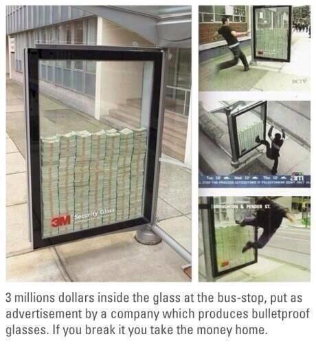 バス停の広告「このガラス壊せたら3億やるわwwwwwwwwwwwwww」