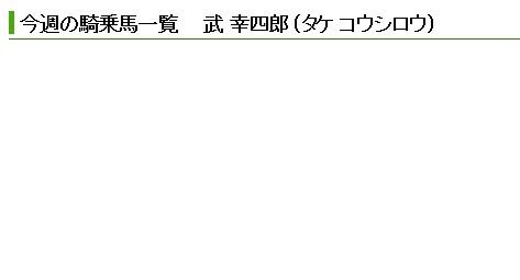 【悲報】 武幸四郎、今週の乗鞍0…  池添9鞍、四位5鞍