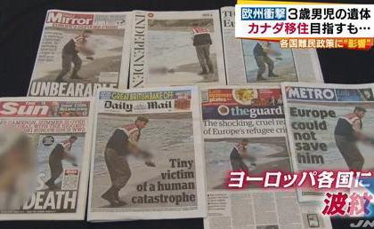 トルコの砂浜に打ち上げられた3歳の難民男児の遺体漂着映像、欧州各国に衝撃。英首相が方針転換しシリア難民を数千人受け入れ … 一方日本の難民受け入れは先進国最低