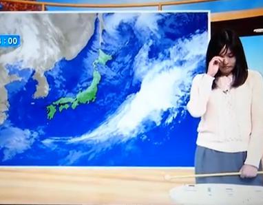 NHK山形の天気予報コーナーで、気象予報士の岡田みはるさんが突然泣き出し、完全に涙声になる放送事故(動画)
