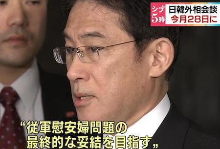 """28日実施される日韓外相会談、慰安婦問題について「最終決着」に合意があった場合、日本側は韓国側が再度問題を蒸し返さないよう""""第三国を交えて合意を確認する案""""も検討"""