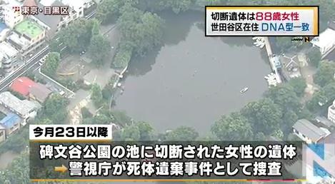 碑文谷公園の池の切断遺体は阿部祝子さん(88)と確認=現場近くマンション独居―警視庁
