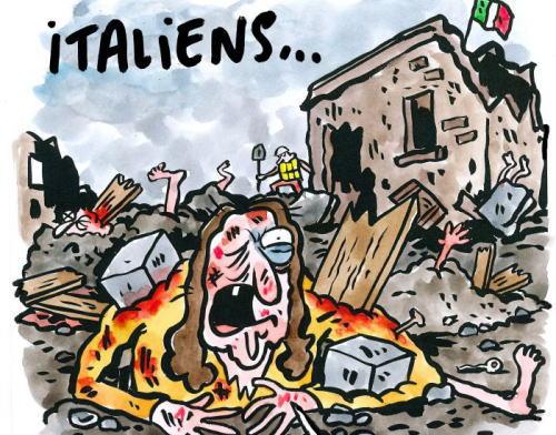 仏紙シャルリーが地震風刺画、被災者を「ラザニア」扱い 伊激怒