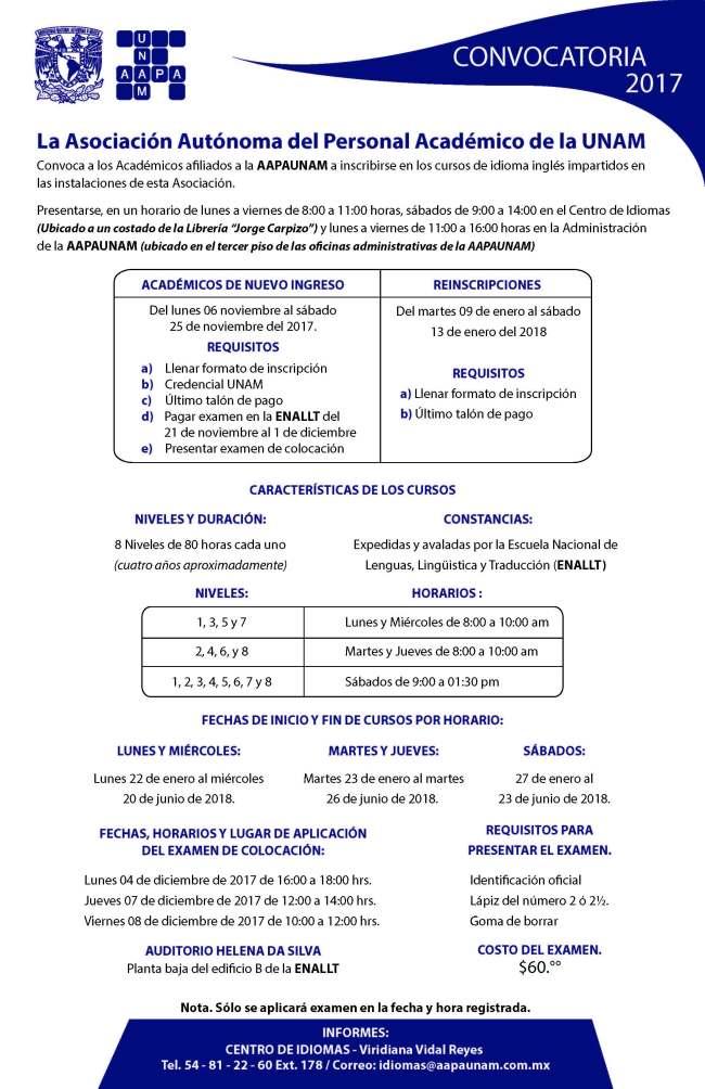 Convocatoria Cursos Ingles AAPAUNAM