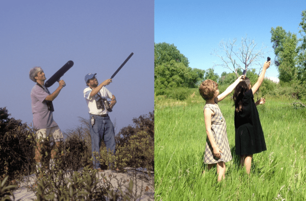 Left: Bill Evans and Michael O'Brien record flight calls, August 1998; photo by © Volker Dierschke. Right: Reese Burke and Hannah Floyd record flight calls, June 2014; photo by © Ted Floyd.