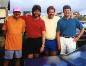 The Ziants Boyz (L-R) Tommy (coal miner), Micheal (radio/recording dude), John (Ohio coal mine boss), Steve (newspaper writer/sports editor) ... on vacation, Holden Beach, 1994