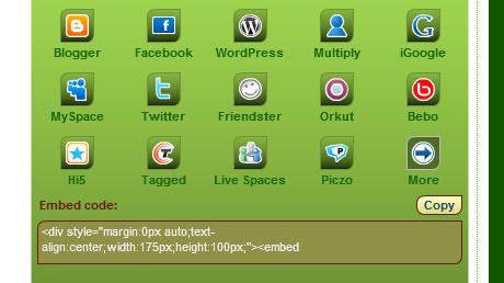 Embed code dialog window