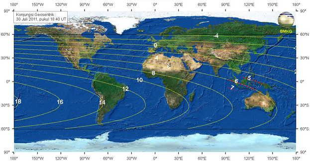 Rukyatul Hilal - Peta Ketinggian Bulan 31 Juli 2011 - BMKG
