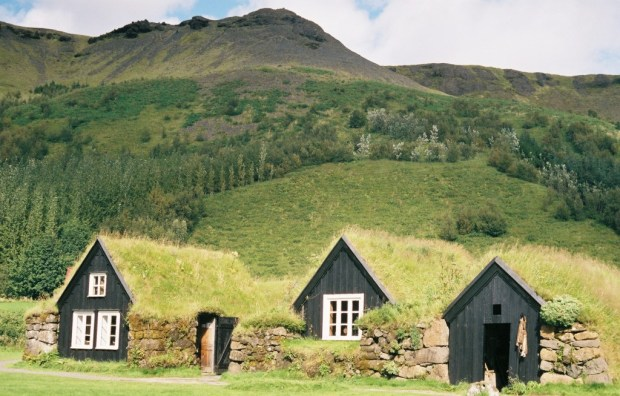 Outdoor display at the Folk Museum in Skogar. These are traditional Icelandic homes from only a century ago!