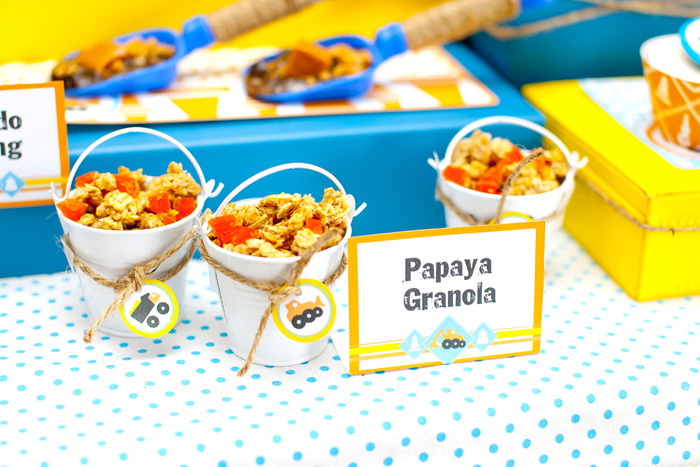 Construction Crew Boy Birthday Dessert Table Granola Buckets1 Construction Crew Guest Dessert Feature