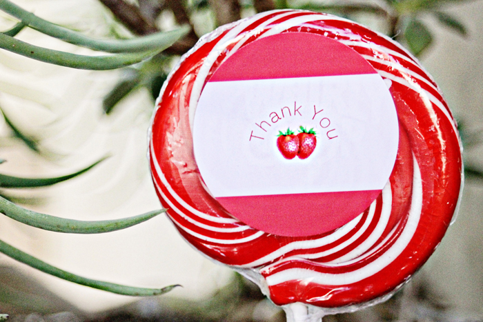 Red and white dessert table strawberry swirl lollipop