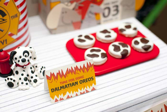 fireman birthday party fire truck dessert table dalmatian oreos Five Alarm Guest Dessert Feature