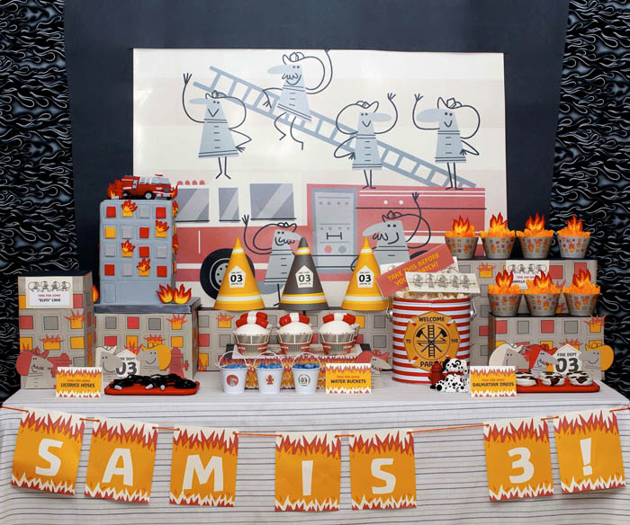 fireman birthday party fire truck dessert table overall Five Alarm Guest Dessert Feature