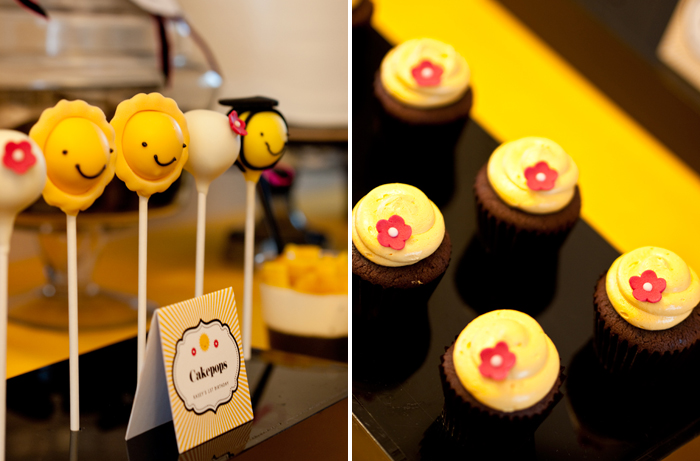 My Little Sunshine Yellow Black and Hot Pink Birthday Party Cake Pops and Cupcakes