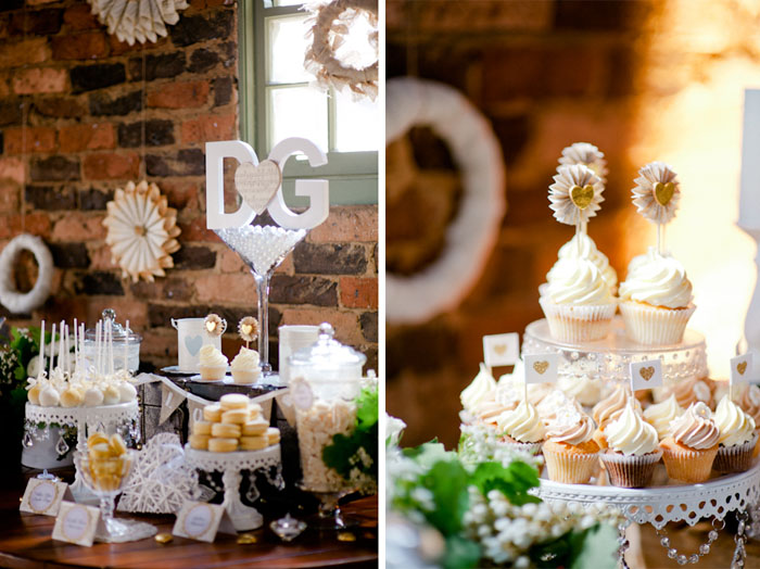 Vintage Rustic Wedding Dessert Table Cupcakes