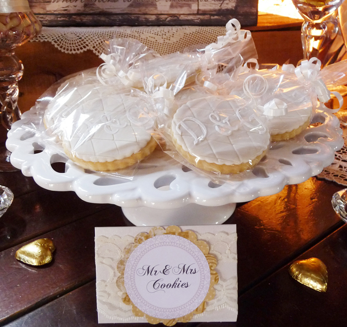 Vintage Rustic Wedding Dessert Table Mr. & Mrs. Cookies