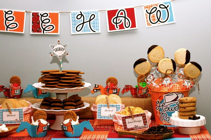 Cowboys and cookies birthday party dessert table overall right Cowboys and Cookies Guest Dessert Feature