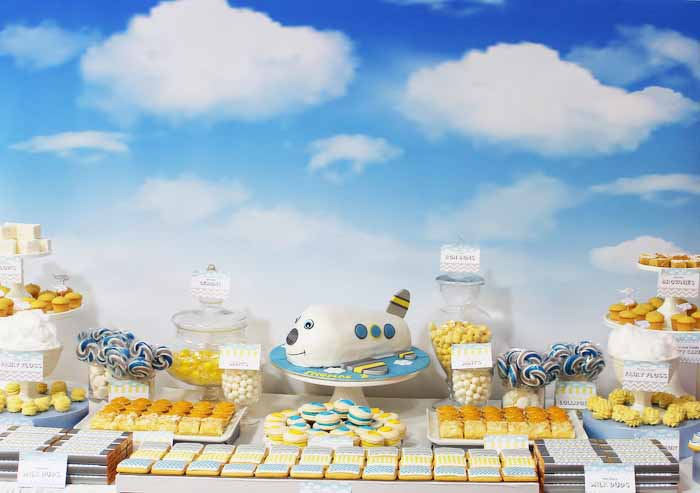 Little Biridie Events Colourful Patterned Aeroplane Dessert Table 01 Airplane Guest Dessert Feature
