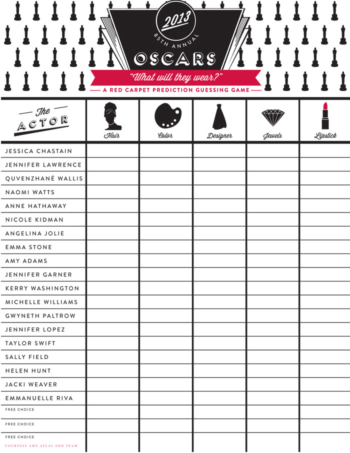 What Will They Wear Oscar 2013 Party Ideas: Part I {Red Carpet Prediction Guessing Game FREE Printable}
