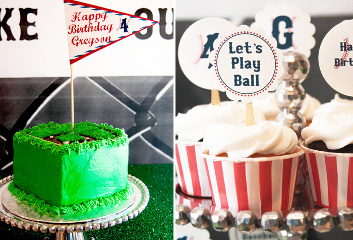 Baseball Field Cake and cupcakes1 Vintage Baseball Guest Dessert Feature