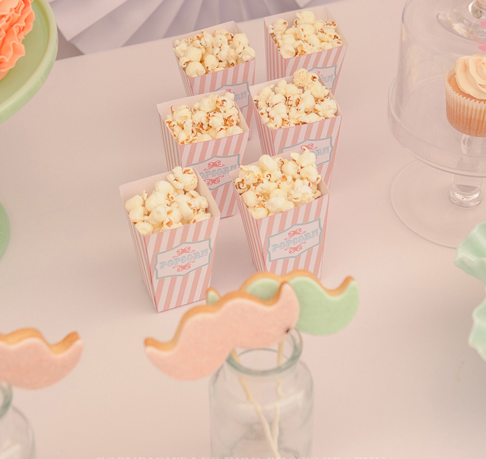Circus Party Popcorn Boxes Pretty Peach & Green Circus Guest Dessert Feature