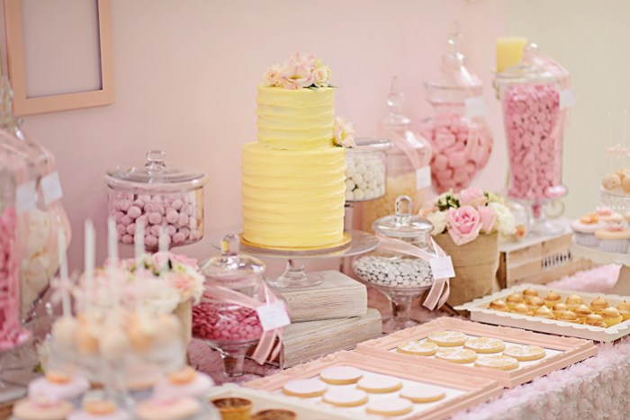 pink yellow dessert table1 Romantic Bliss Guest Dessert Feature