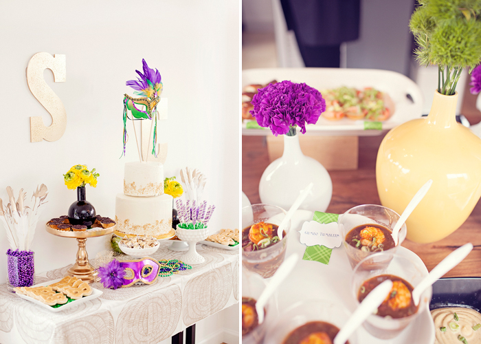Mardi Gras inspired Mardi Gras Bridal Shower Guest Dessert Feature