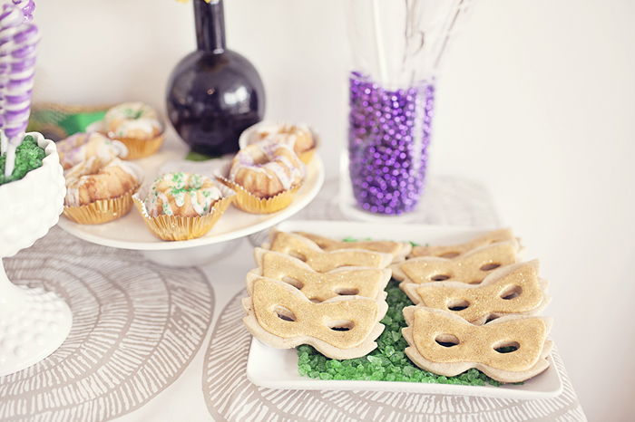 Mardi Gras Inspired Bridal Shower | Mask Cookies