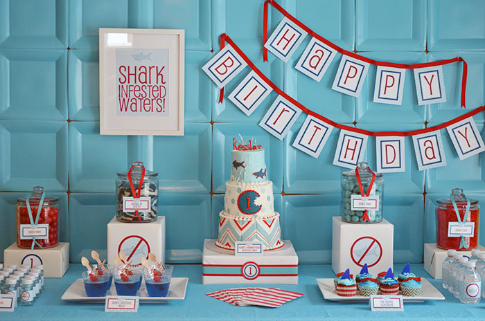 Shark Party Dessert Table Shark Party Guest Dessert Feature