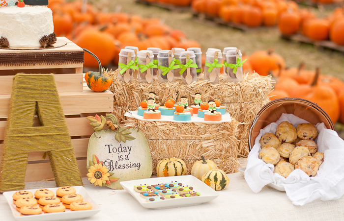 Fall inspired dessert table Little Pumpkin Guest Dessert Feature