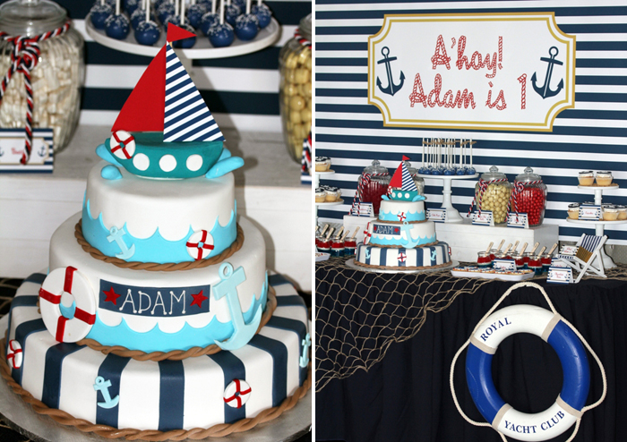 Nautical Cake Anchors Aweigh Guest Dessert Table