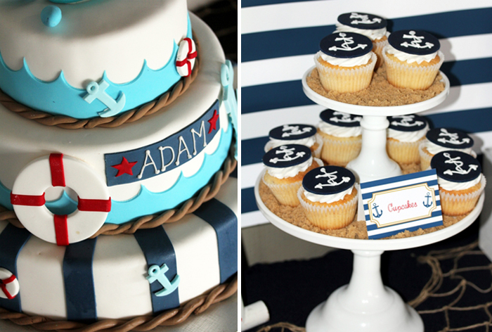 Nautical Cupcakes Anchors Aweigh Guest Dessert Table