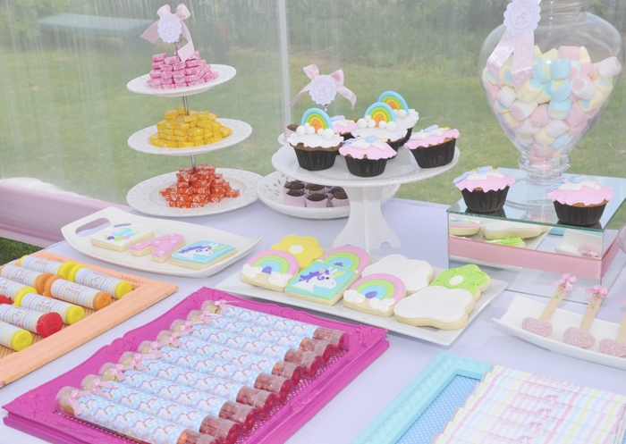 Pretty Pastel Dessert Table Unicorns & Rainbows Guest Dessert Feature