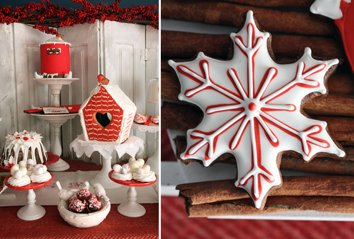 Snowflake Sugar Cookies Red Holiday Guest Dessert Feature