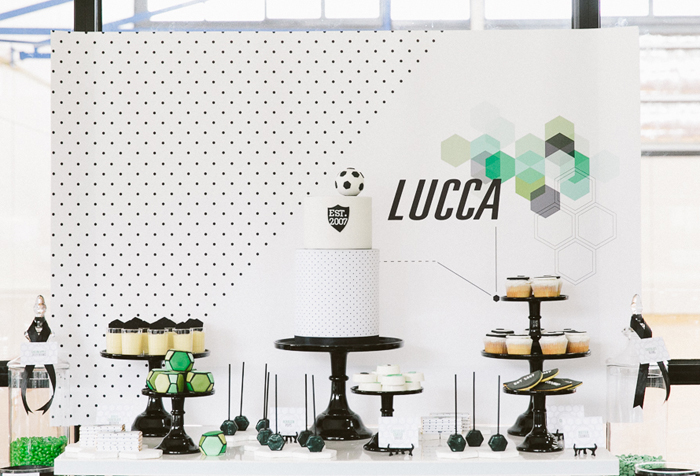 soccer dessert table Hexagon Soccer Guest Dessert Feature