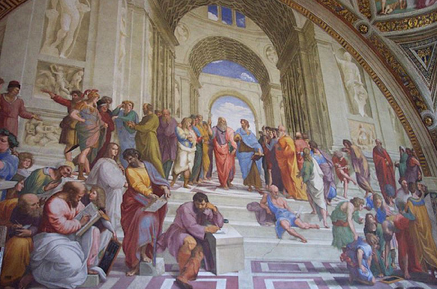 The School of Athens - Aristotle and Plato por xtinabot