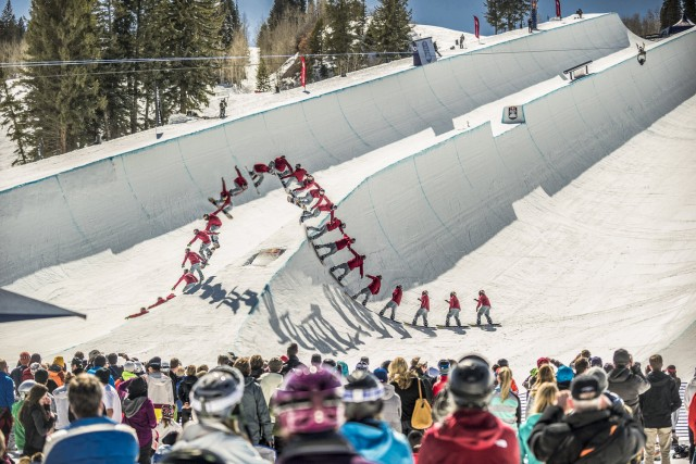 Greg Bretz throws down a run during the finals at Red Bull Double Pipe, in Aspen, CO, USA on 23 March 2014