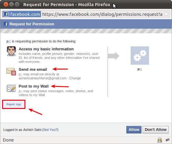 fb spam app permissions