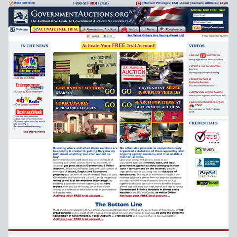 Screen shot of GovernmentAuctions.org