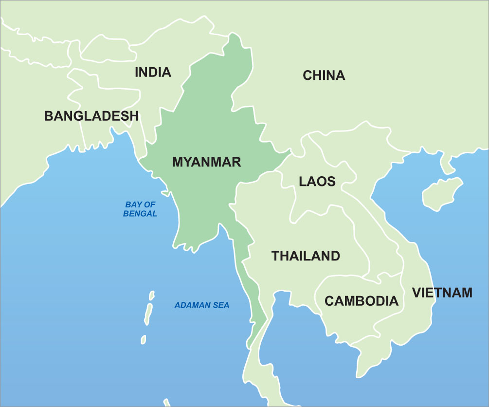 map of asia burma
