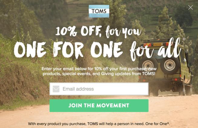 TOMS Sign Up Form CTA
