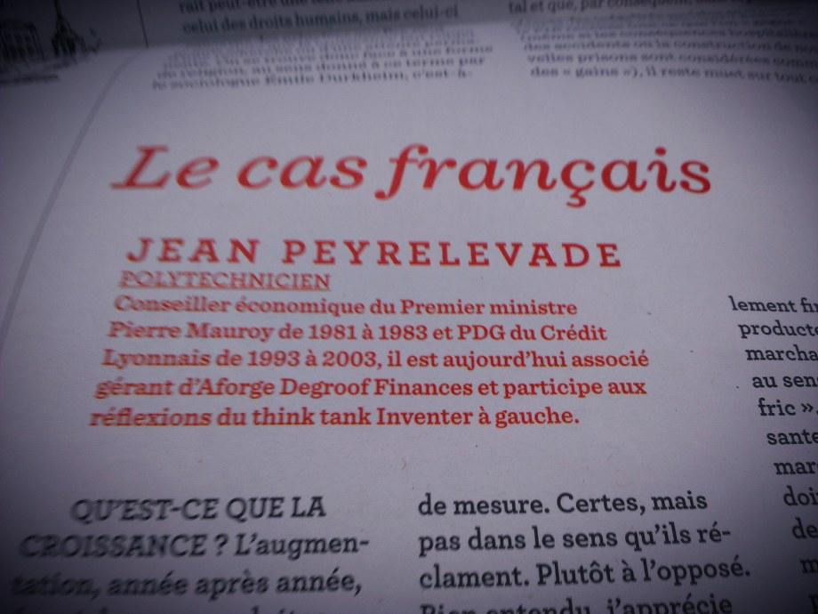 """""""Le cas français"""" par Jean Peyrelevade dans le """"1"""" du 9 juillet 2014."""