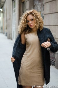 Black Coat and Nude Suede Style Dress .