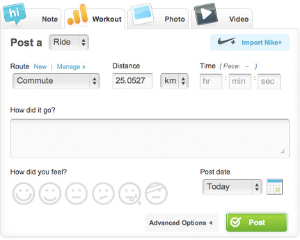 Post a workout on Dailymile