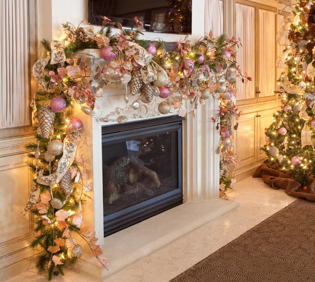 Pink and Gold Mantle via Houzz user Regina Gust Designs