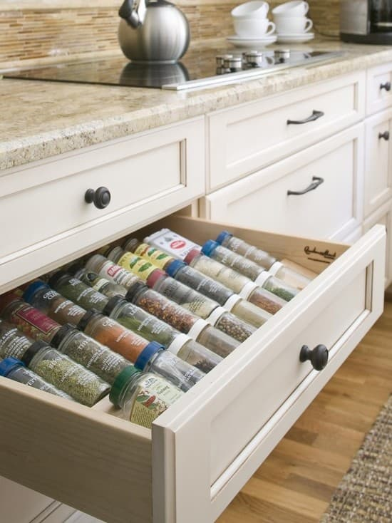 Drawer spice rack